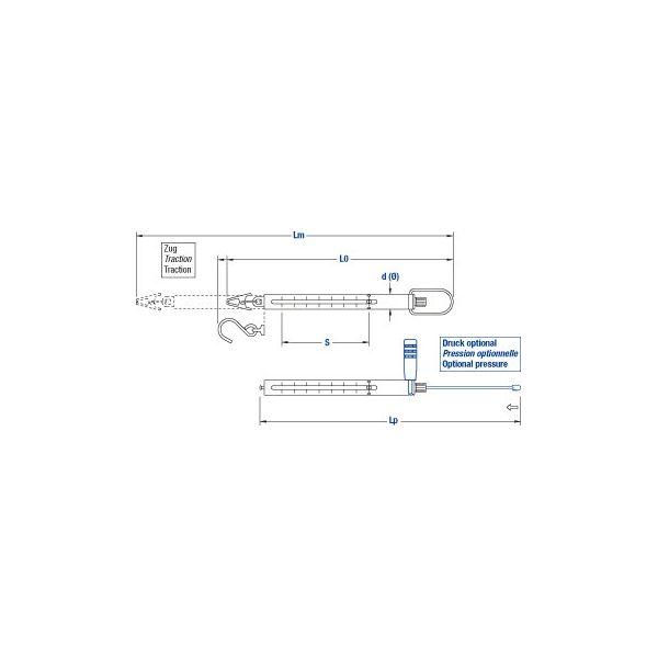 Balance à ressort, 10N , D:0.1N, bleu, avec crochet, Ligne Médio