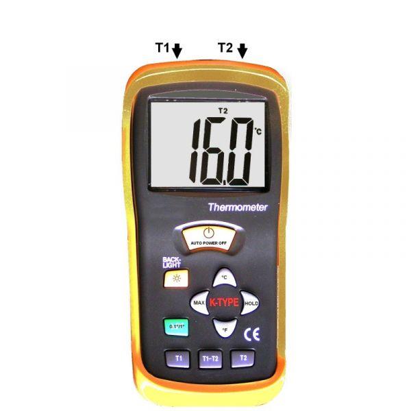 Thermomètre type K - 2 canaux - 2 sondes filaires type K - Mémoire MAXI