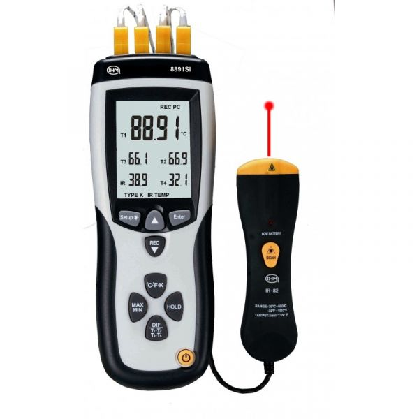 Thermomètre type K 4 canaux + 1 canal infrarouge - Data logger - 4 sondes type K filaires